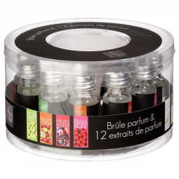 Coffret Brûle parfum + 12 Extraits de parfum 10 ml