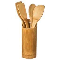 Lot de 4 ustensiles + pot en bambou