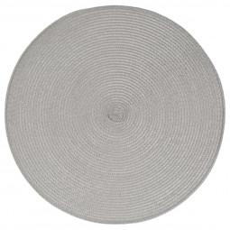 Lot de 6 sets de table tressés ronds gris clairs