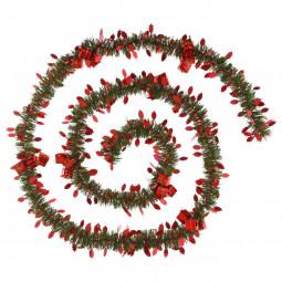 Guirlande de Noël Verte large 10 cm avec déco rouge Longueur 270 cm Les incontournables
