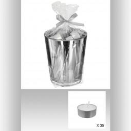Lot de 35 bougies cp parfumées en pot argenté