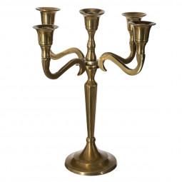 Bougeoir chandelier 5 têtes en métal or H27