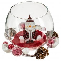 Bougie Bonhomme de neige dans photophore en verre avec accessoires Noël et compagnie
