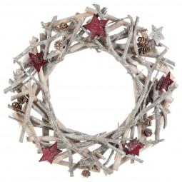 Décoration de Noël Couronne avec branches bois et étoiles D 30 cm Comptoir de Noël