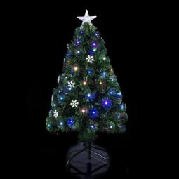 Sapin de Noël Artificiel Lumineux Fibre Optique + 18 Flocons Lumineux + 136 Lampes LED H 120 cm Vilnius