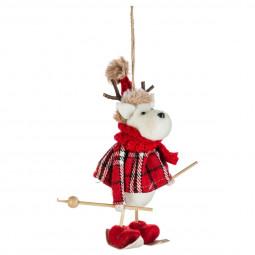Décoration Sujet de Noël Renne skieur habit écossais L 10 cm Comptoir de Noël