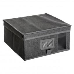 Boîte de rangement gris chiné 30x30x15