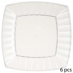 Lot de 6 assiettes carrées blanches en plastique