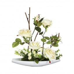 Composition de roses en céramique H36.5