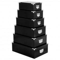 Lot de 6 boîtes coins métal uni noir