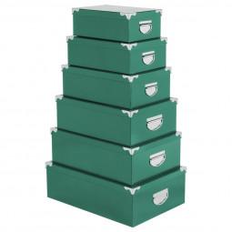 Lot de 6 boîtes coins métal uni vert sauge