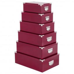 Lot de 6 boîtes coins métal uni berry