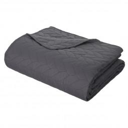 Dessus de lit tressé 240x260 + 2 taies coloris gris foncé