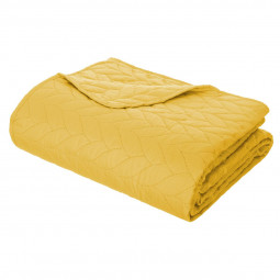 Dessus de lit tressé 240x260 + 2 taies coloris ocre