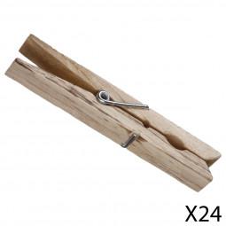 Lot de 24 pinces à linge en bois