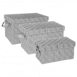 Lot de 3 boîtes rectangles gris clair
