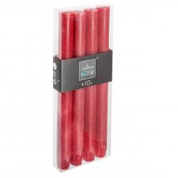 Lot de 4 bâtons de bougies rustiques rouges H24,5
