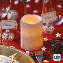 Bougie lumineuse à LED Argent pailleté D 7.5 x H 10 cm Colorama de Noël