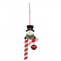 Décoration Sujet de Noël Canne à sucre en bois et grelot H 13 cm Noël et compagnie