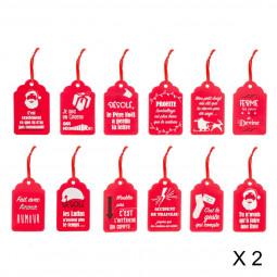 Lot de 24 étiquettes FUN pour paquets cadeaux Noël et compagnie