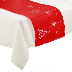 Chemin de table Feutrine Rouge Joyeux Noël 30 x 120 cm La maison des couleurs