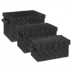 Lot de 3 boîtes rectangles noires