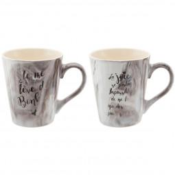 Coffret 2 Mug en céramique marbré 345 ML