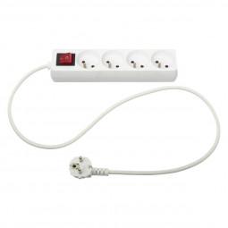 Bloc multiprise électrique blanche 4 prises terre + interrupteur