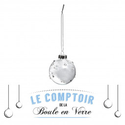 Décoration de sapin Boule de noël en verre perle et plume D 6 cm Sarah B.
