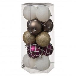 Décoration de sapin Lot de 15 Boules de Noël D 5 cm La maison des couleurs