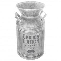 Pot de lait deco en métal gris vintage H37