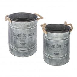 Lot de 2 seaux en métal  gris vintage