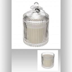 Bougie parfumée verre strié H17