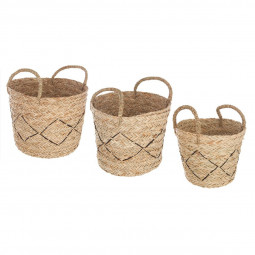 Lot de 3 paniers seagrass nomade
