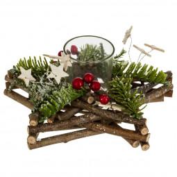 Centre de table Etoile en bois décoré Noël avec un Photophore en verre collection Lodge