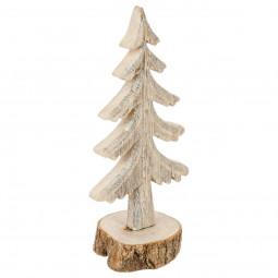 Décoration de Noël Sapin de table en bois sur socle bûche H 26 cm  A l'orée des bois