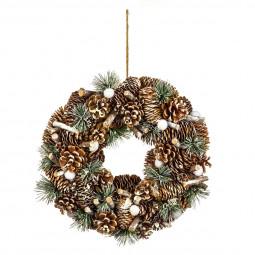 Décoration de Noël Couronne pommes de pin et autres déco D 34 cm  A l'orée des bois