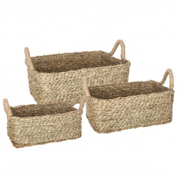 Lot de 3 paniers rectangles seagrass naturel