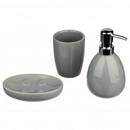 Lot de 3 accessoires salle de bain sun gris
