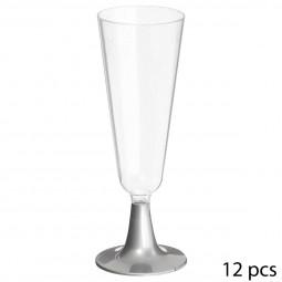 Lot de 12 flûtes à champagne jetables avec pied argenté