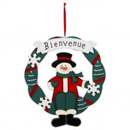 Décoration de Noël Couronne BIENVENUE en bois D 30 cm Comptoir de Noël