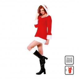 Déguisement pour Femme Costume de Noël 3 pièces Robe Bonnet et ceinture taille unqiue