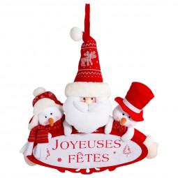 Décoration de Noël Pancarte Joyeuses Fêtes avec 3 peluches H 38 cm Les incontournables