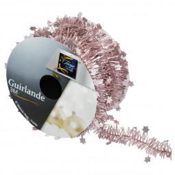 Guirlande de Noël fine Rose avec étoiles Rouleau L 300 cm La maison des couleurs