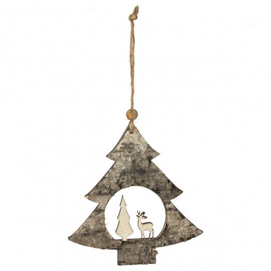 Sujet de no/ël Long en Bois avec 5 /étoiles grelots Cottage FEERIC CHRISTMAS
