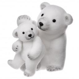 Décoration de Noël Ours avec son bébé floqué blanc H 28 cm Sous son blanc manteau
