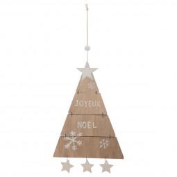 Décoration Suspension Sujet de Noël Sapin triangle articulé en bois H 25,5 cm A l'orée des bois