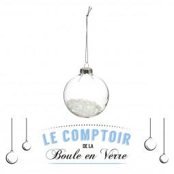 Décoration de sapin Boule de noël en verre intérieur neige irisé D 7 cm collection Fantasy