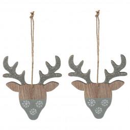 Décoration Sujet de Noël Lot de 2 Formes en Bois 10 cm Un Noël kinfolk