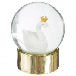 Boule a neige cygne or D8 cm